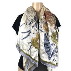 Accessories - Vintage extra large silk scarf floral ivory gra